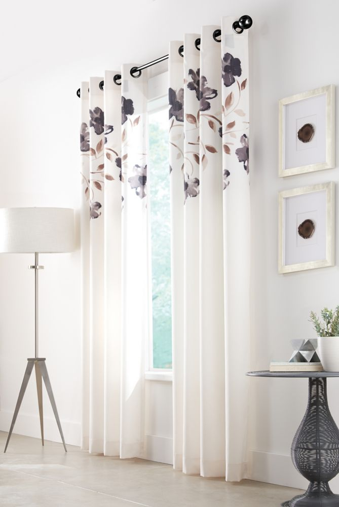 Charcoal, Printed faux silk, Light filtering, Grommet, 52 x 95