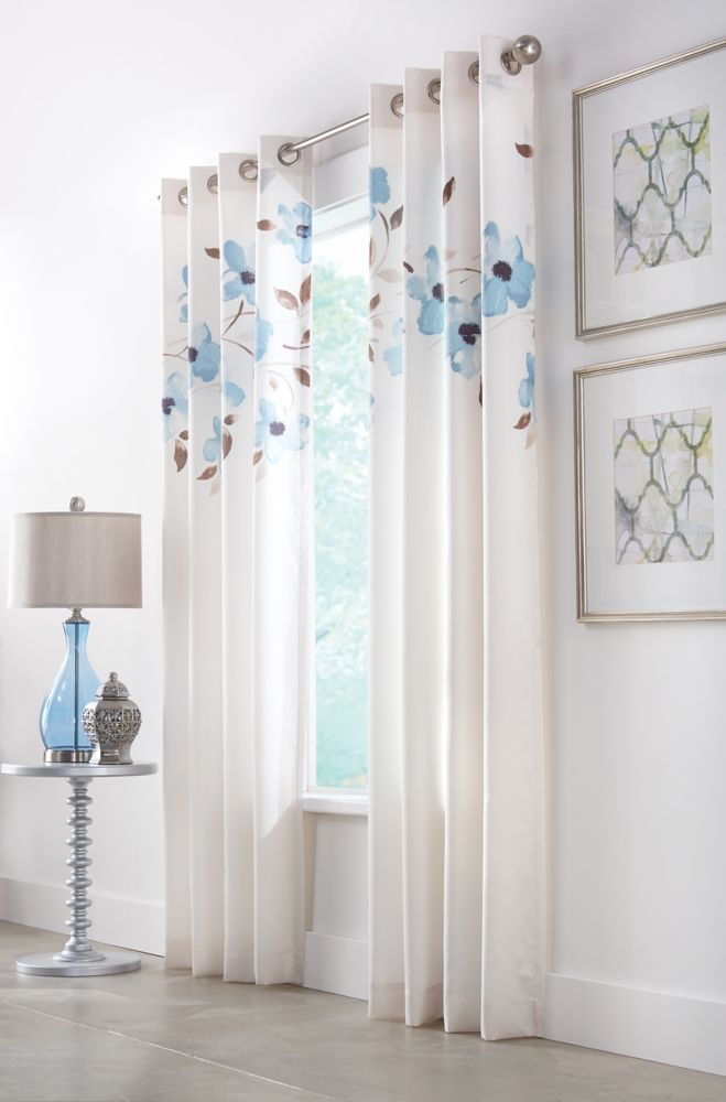 Blue, Printed faux silk, Light filtering, Grommet, 52 x 95