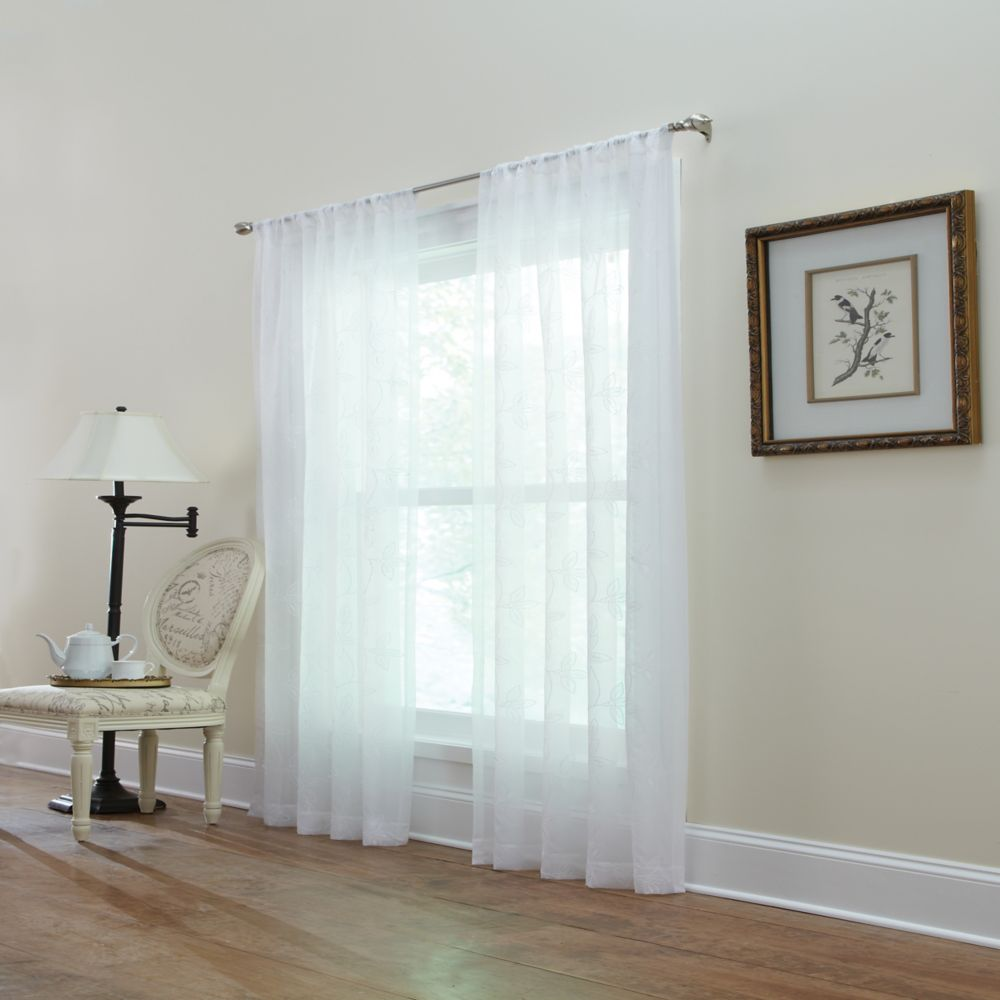 White, Embroidered voile, Sheer, Pole top, 50 x 95