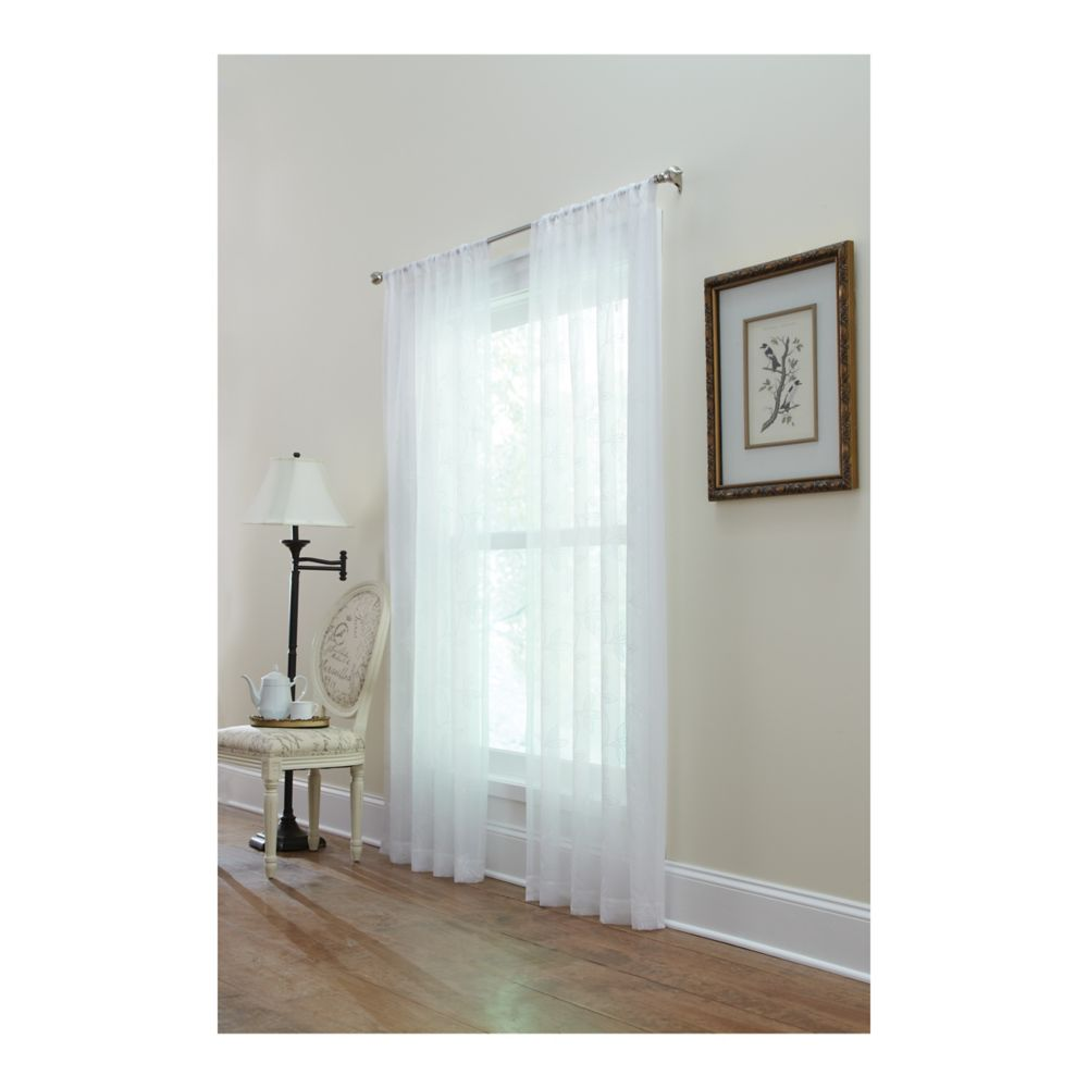White, Embroidered voile, Sheer, Pole top, 50 x 108