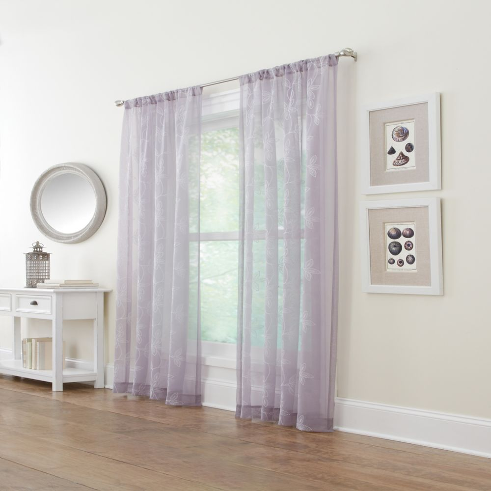 Grey, Embroidered voile, Sheer, Pole top, 50 x 108