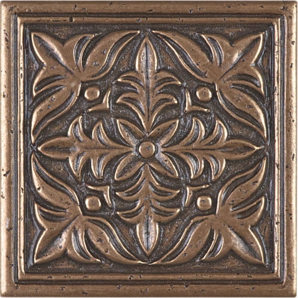 4-inch x 4-inch Fiore Metal Decorative Tile in Bronze