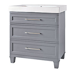 Home Decorators Collection Upminster Collection 30-inch W 2-Drawer Freestanding Vanity in Grey With Ceramic Top in White