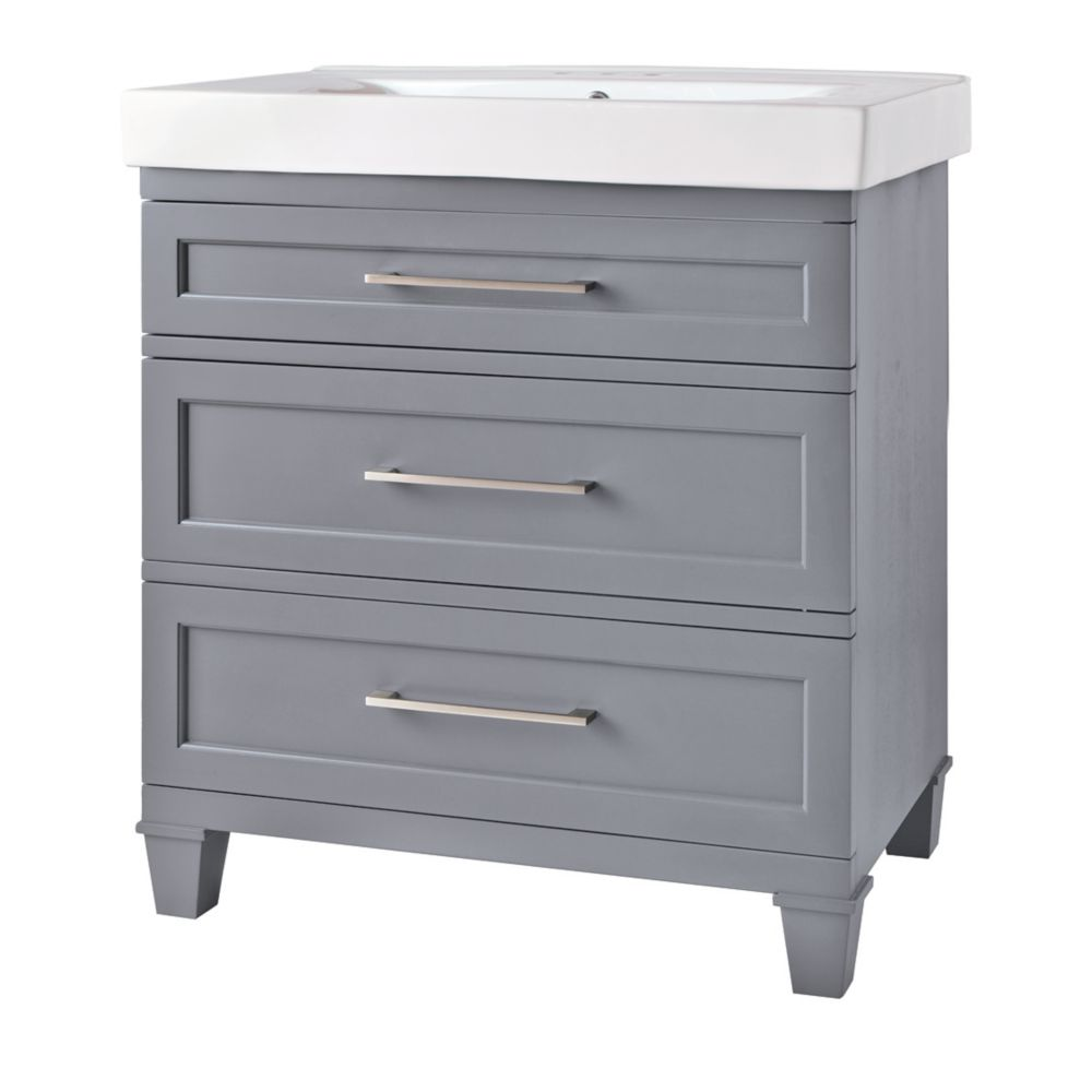 Upminster Collection 30-inch W 2-Drawer Freestanding Vanity in Grey With Ceramic Top in White