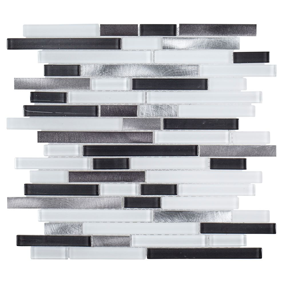 Jeffrey Court 11.6-inch x 11.9-inch x 6mm Boxcar Glass/Metal Mosaic Tile