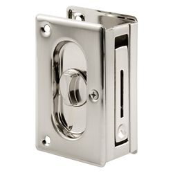 Prime-Line Pocket Door Privacy Lock with Pull, 3-3/4 inch Satin Nickel