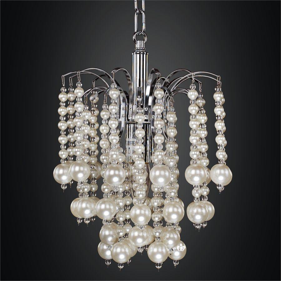10 Inch  Cascading Faux Pearl Bead Mini Pendant  Asti 644