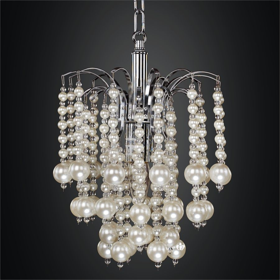 Glow Lighting 10 Inch Cascading Faux Pearl Bead Mini Pendant Asti 644