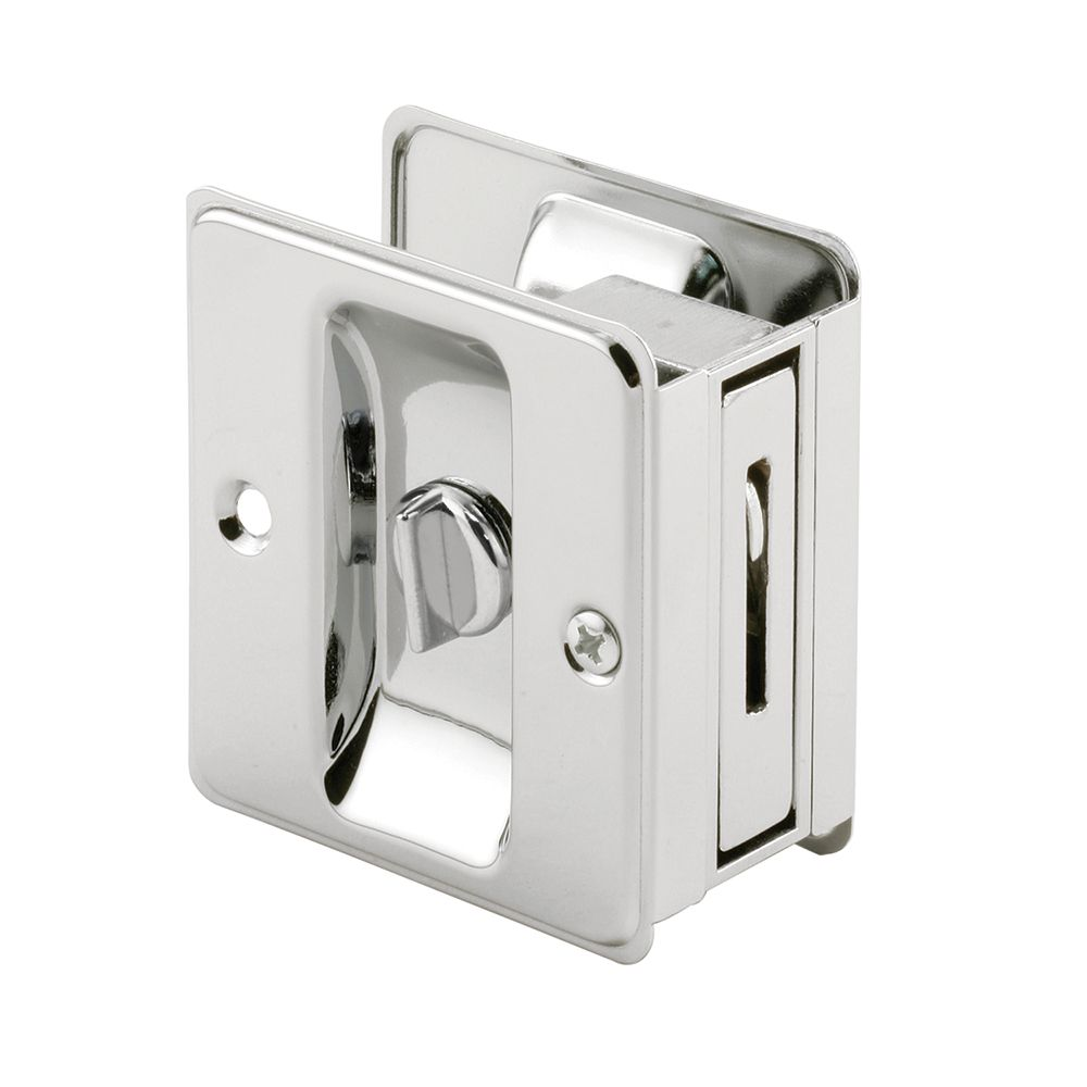 Prime-Line Pocket Door Privacy Lock with Pull, Chrome Plated