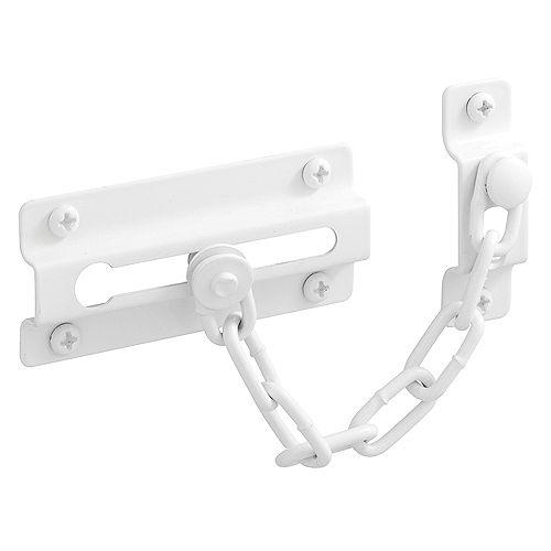 Prime-Line Chain Door Guard, 3-5/16 inch., Steel, White
