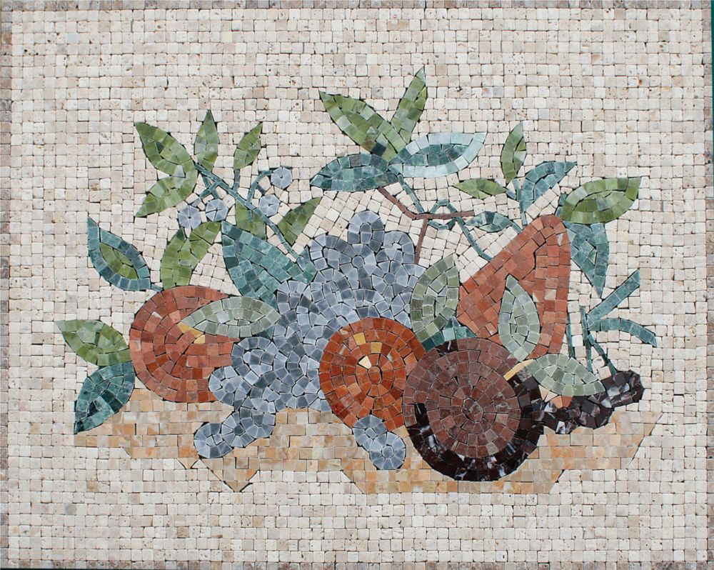 16-Inch x 20-Inch Marble Fruit Mix Mosaic Tile
