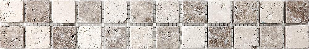 2-Inch x 12-Inch Chiaro Noce Checkerboard Listello Tile