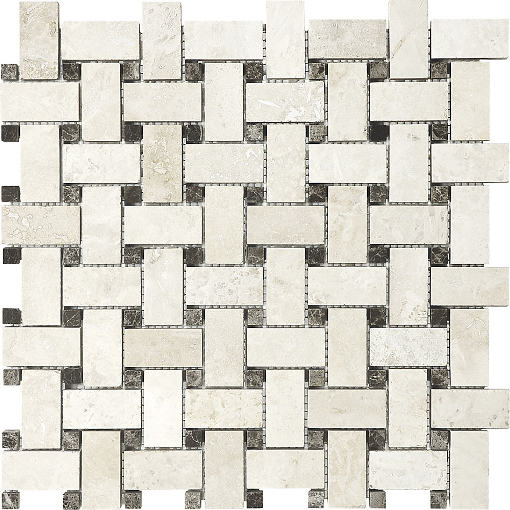 12.5-Inch x 12.5-Inch Basketweave Mosaic Tile in Ivory Travertine