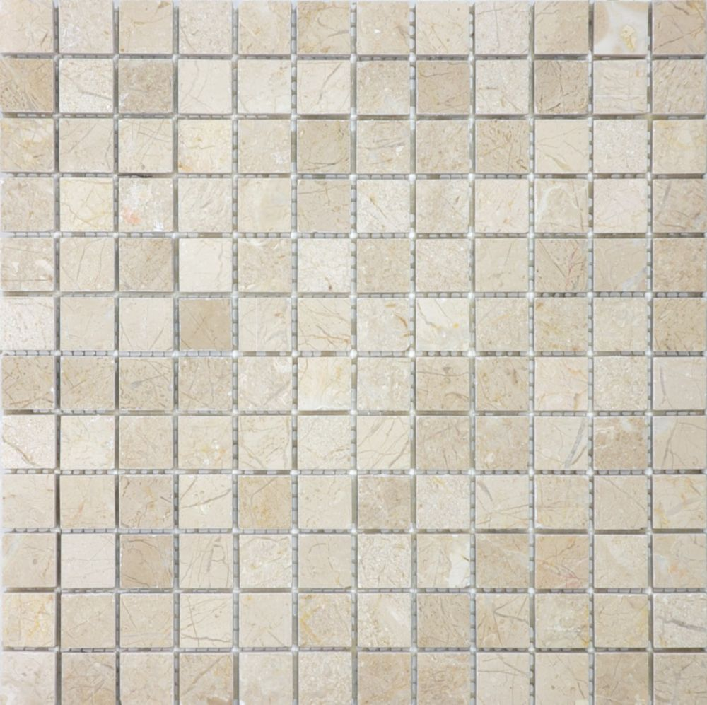 1-Inch x 1-Inch Polished Marfil Mosaic Tile