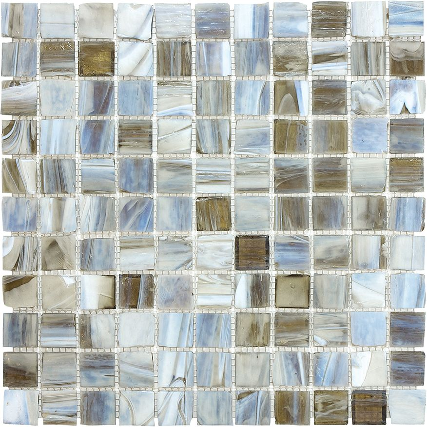 1 Inch x 1 Inch Smoked Oyster Glass Mosaics