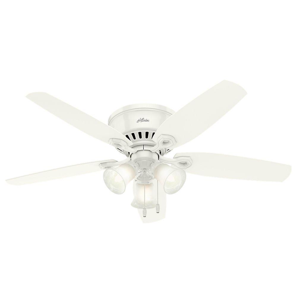 Hunter Builder 52po Montage bas Blanc Ventilateur de plafond avec 3lumières