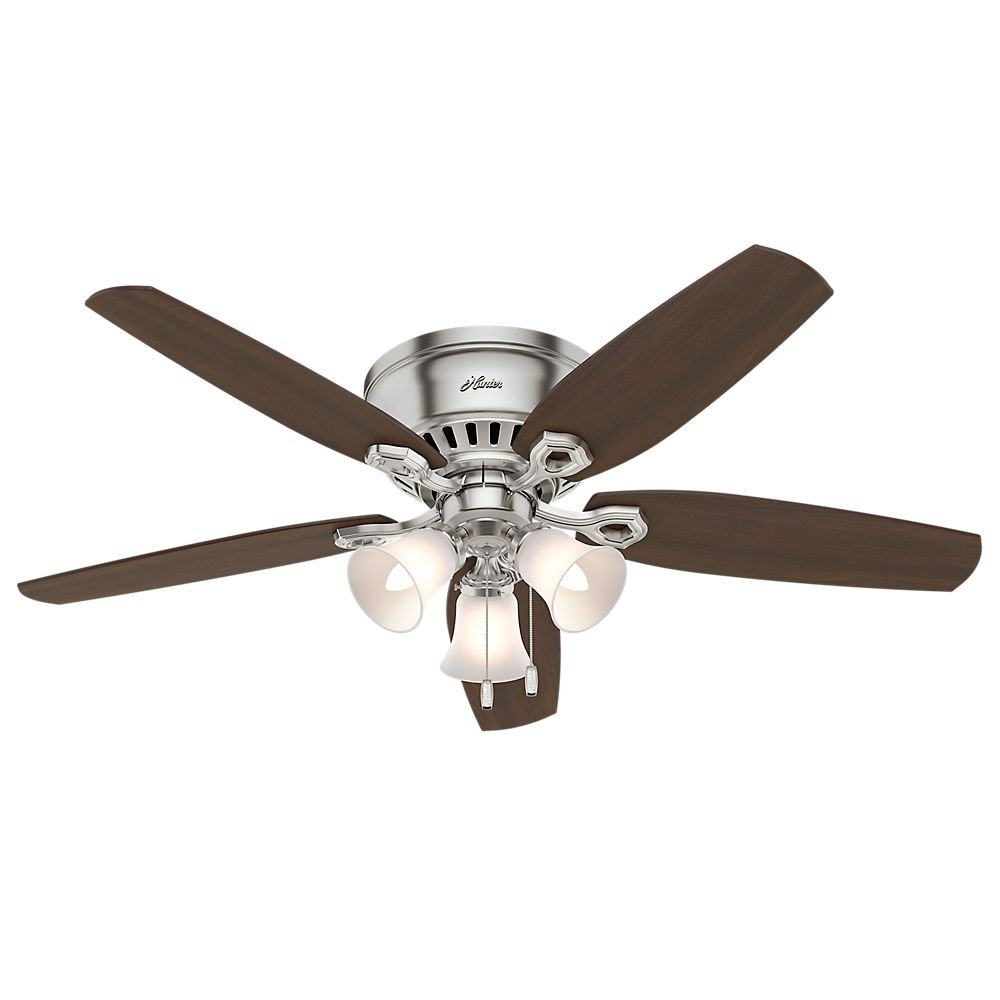 Hunter Builder 52 Inch  Low Profile Brushed Nickle Ceiling Fan With 3 Lights