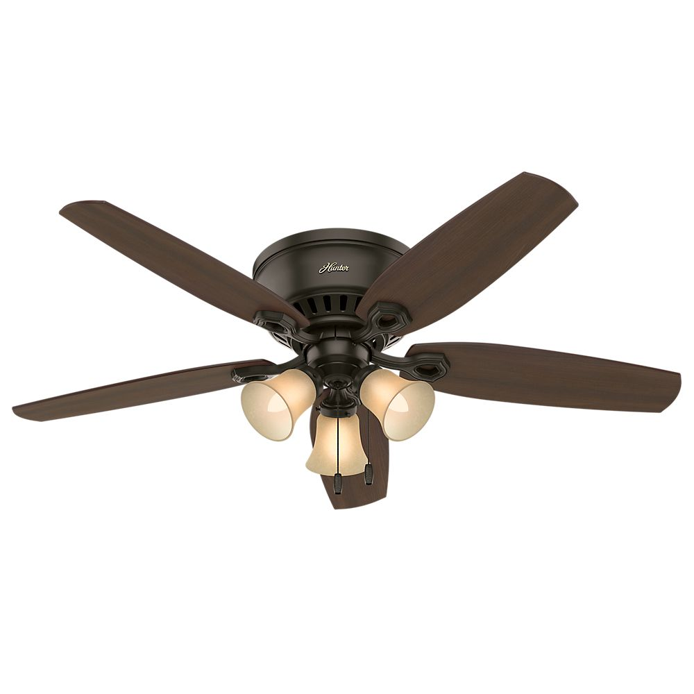 Hunter Builder 52 Inch  Low Profile New Bronze Ceiling Fan With 3 Lights