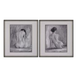 Titan Lighting Figure In Black And White I And Ii - Fine Art Print Under Glass