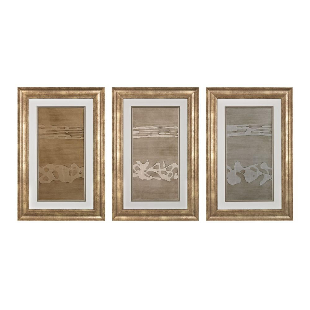 Metal Alloy In Champagne Pearl And Silver - Fine Art Giclee Under Glass With Textured Acrylic Pai...