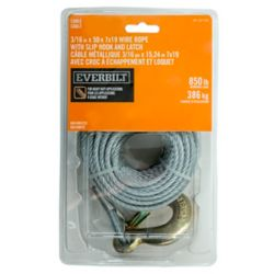 Everbilt 3/16 inch x 50 ft. 7x19 Galvanized Winch Cable with Grade 70 Slip Hook with Safety Latch - Packaged