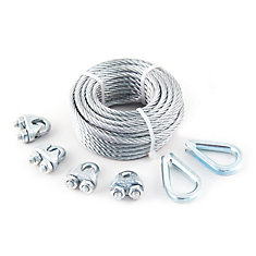 3/16 inch  x 50 ft. 7x19 Galvanized Aircraft Cable with 4 Wire Rope Clips and 2 Thimbles - Packaged