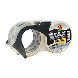 Duck Ruban d'emballage MAX Strength avec distributeur de marque, Transparent, emb. de 2, 48mm x 49m