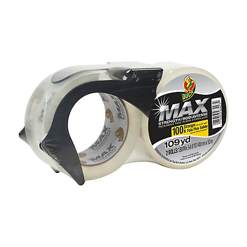 MAX Strength Packaging Tape With Dispenser, 1.88 inch x 54.6 yds., Clear (2-Pack)