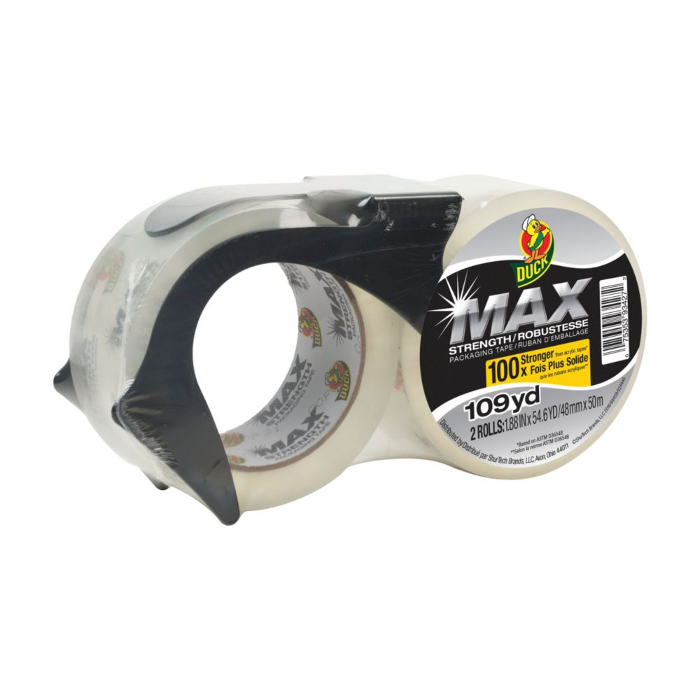 Duck MAX Strength Packaging Tape With Dispenser,  2-Pack, 1.88 inch x 54.6 yds., Clear