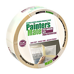 Painter's Mate Green Double-Sided Poly-Hanging Tape - White, 1.41 Inch x 25 Yard