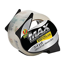 Duck Brand MAX Strength Packaging Tape With Dispenser, 1.88 inch x 54.6 yds., Clear