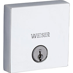 Weiser Low Profile Single Cylinder Sqaure Deadbolt in Polished Chrome