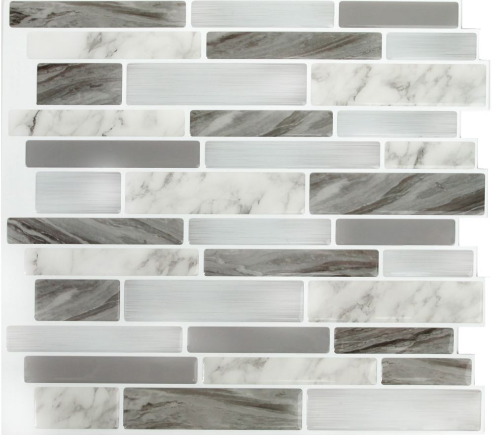 - Stick-It Tiles Marble Grey OBL Peel And Stick It 11.25X10 (8-Pack
