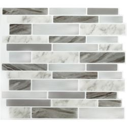 Stick-It Tiles Marble Grey OBL Peel and Stick It 11.25X10 (4-Pack)