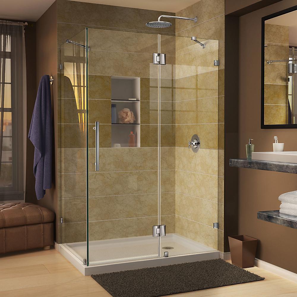 Quatra Lux 34-5/16-inch x 34-5/16-inch x 72-inch Frameless Corner Hinged Shower Enclosure in Chrome