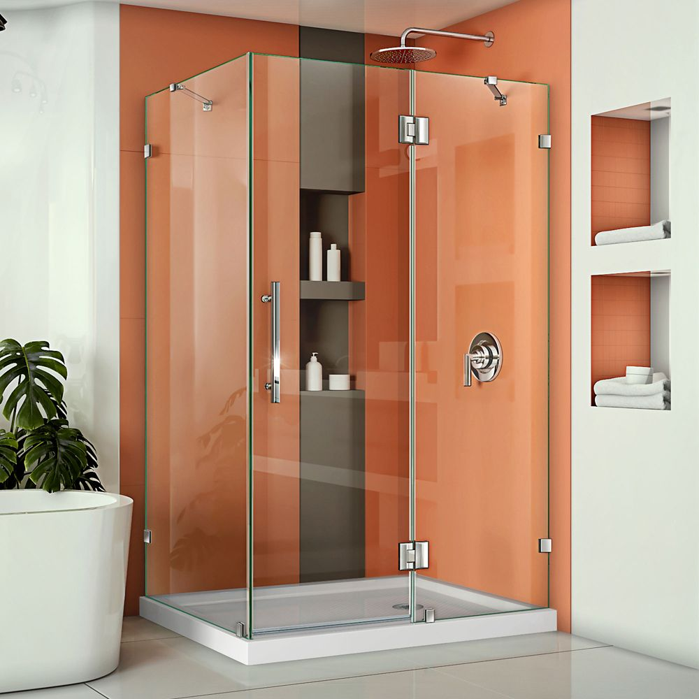 DreamLine Quatra Lux 46-5/16-inch x 34-5/16-inch x 72-inch Frameless Corner Hinged Shower Door in Chrome
