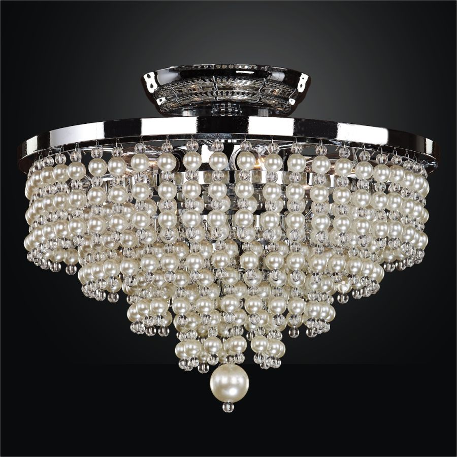 Glow Lighting 13 Inch Faux Pearl Bead Flush Mount Cava 639