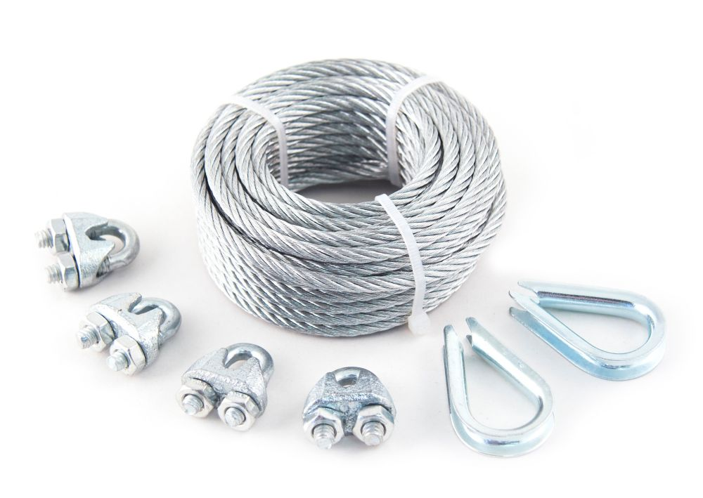 Everbilt 1/8 inch  x 50 ft. 7x7 Galvanized Aircraft Cable with 4 Wire Rope Clips and 2 Thimbles - Packaged