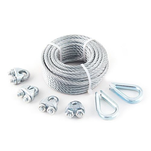Everbilt 1/8 inch x 3/16 inch x 50 ft. 7x7 Vinyl Coated Aircraft Cable with 4 Wire Rope Clips and 2 Thimbles