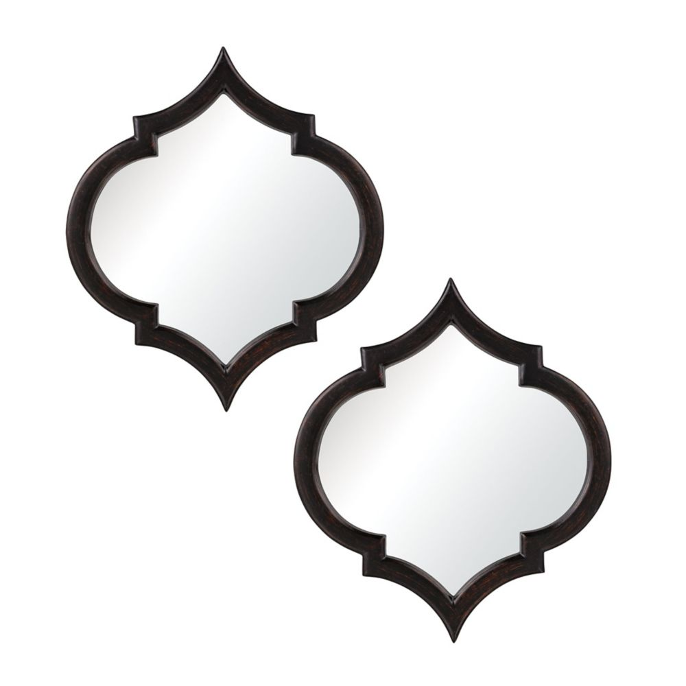 Horizonte Mirrors In Black With Hand Rubbed Silver Edging - Set of 2