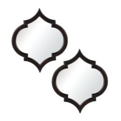 Titan Lighting Horizonte Mirrors In Black With Hand Rubbed Silver Edging (Set of 2)