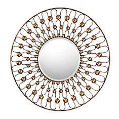 Miroir avec bordure câblé et métal biseauté