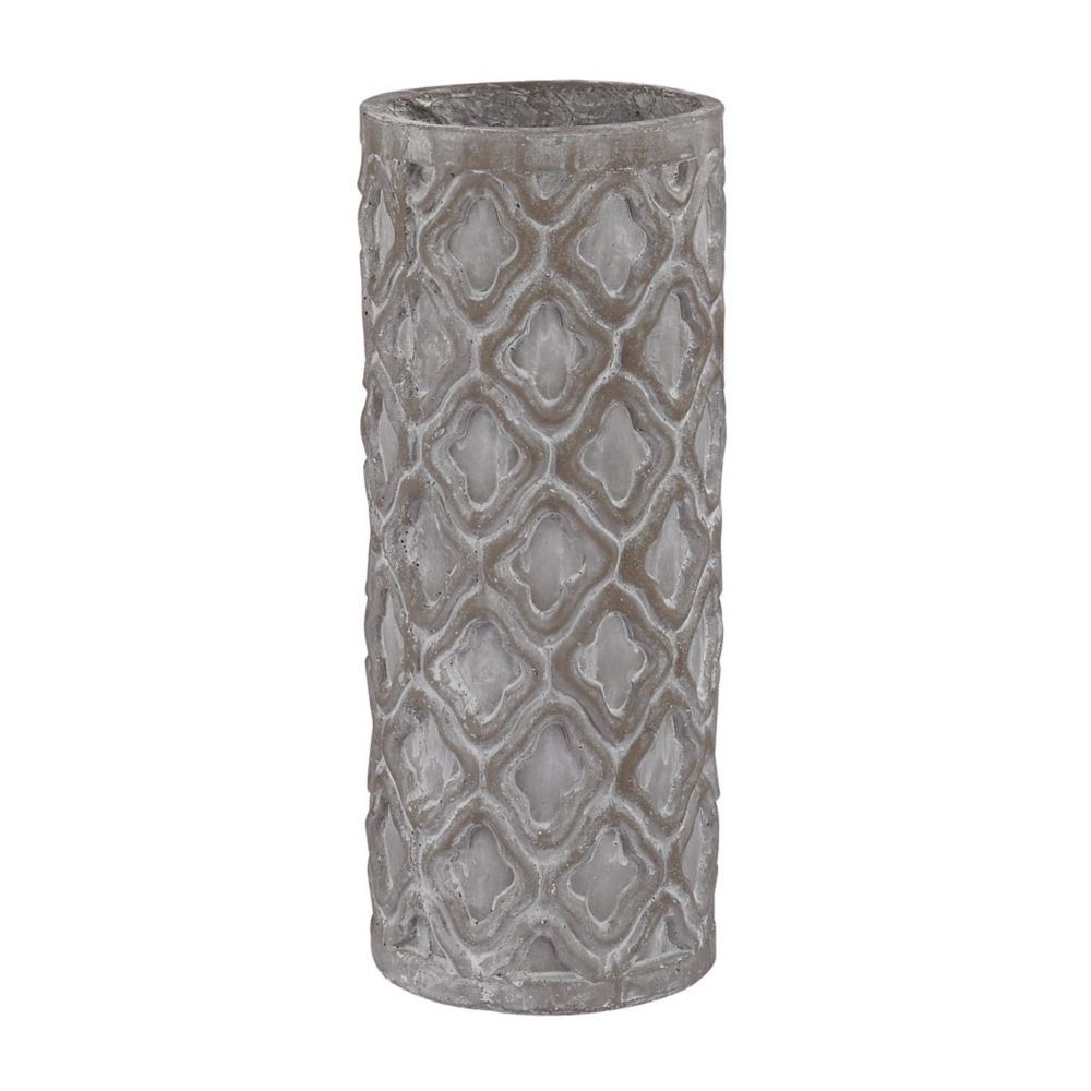 Short Antique Gray Vase With Organic Pattern