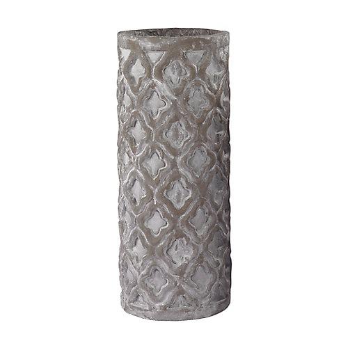 Grand vase gris antique avec motif biologique