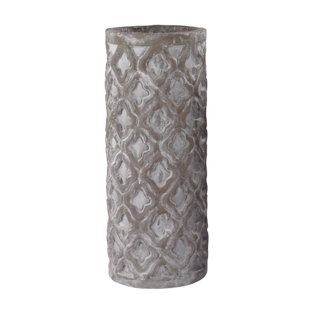 Tall Antique Gray Vase With Organic Pattern