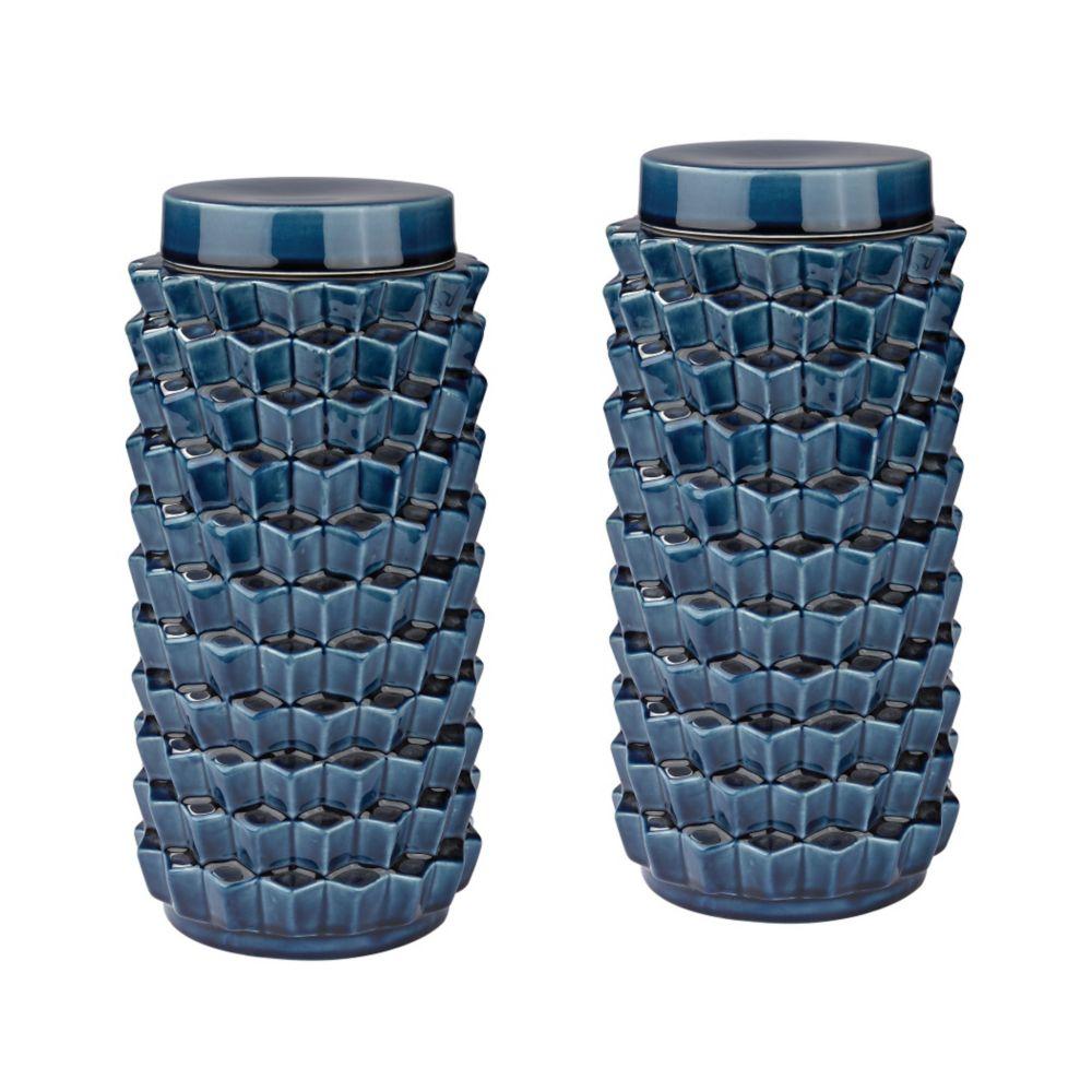 Pot accordion bleu craquelé