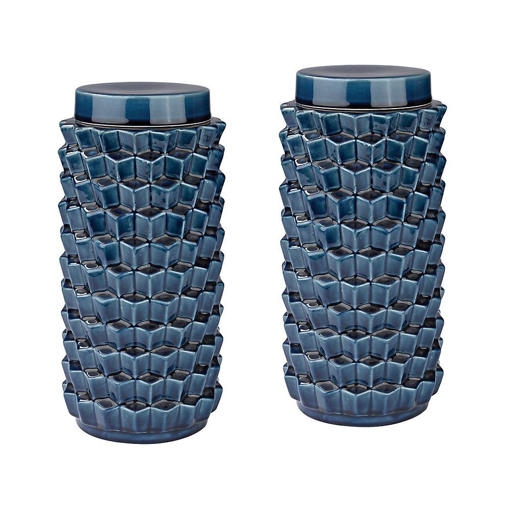 Accordion Crackled Blue Jar