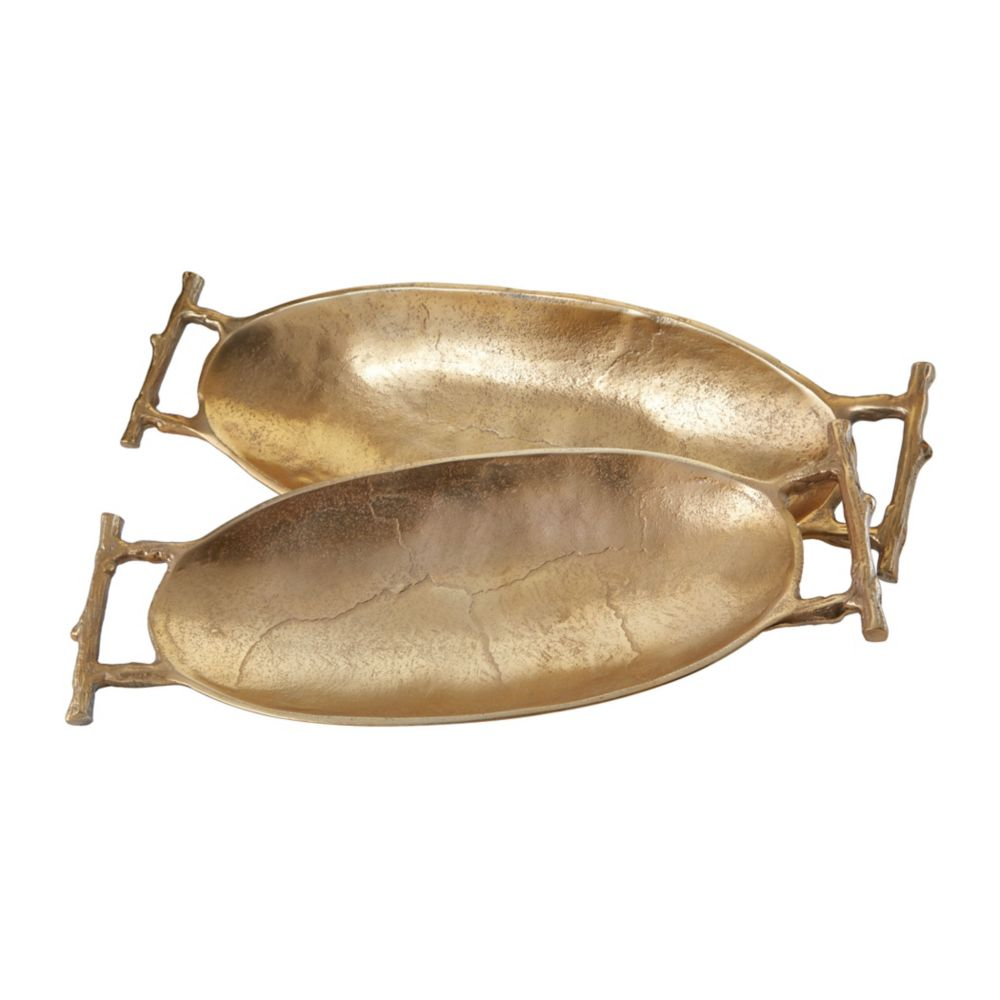 Gold Twig Handle Trays