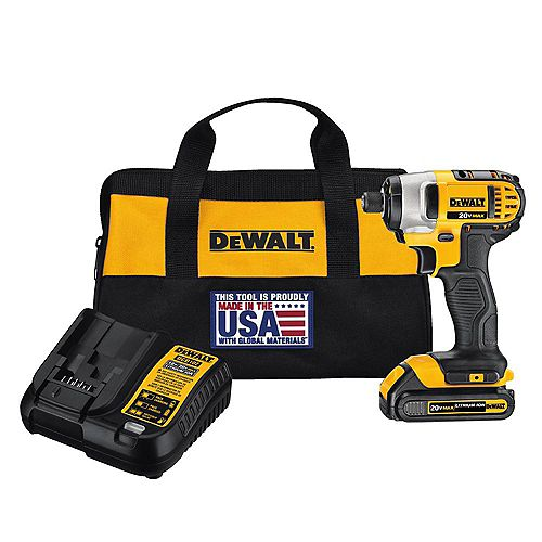 DEWALT 20V MAX Lithium-Ion Cordless 1/4-inch Impact Driver with (1) 20V Battery 1.3Ah, Charger and Tool Bag