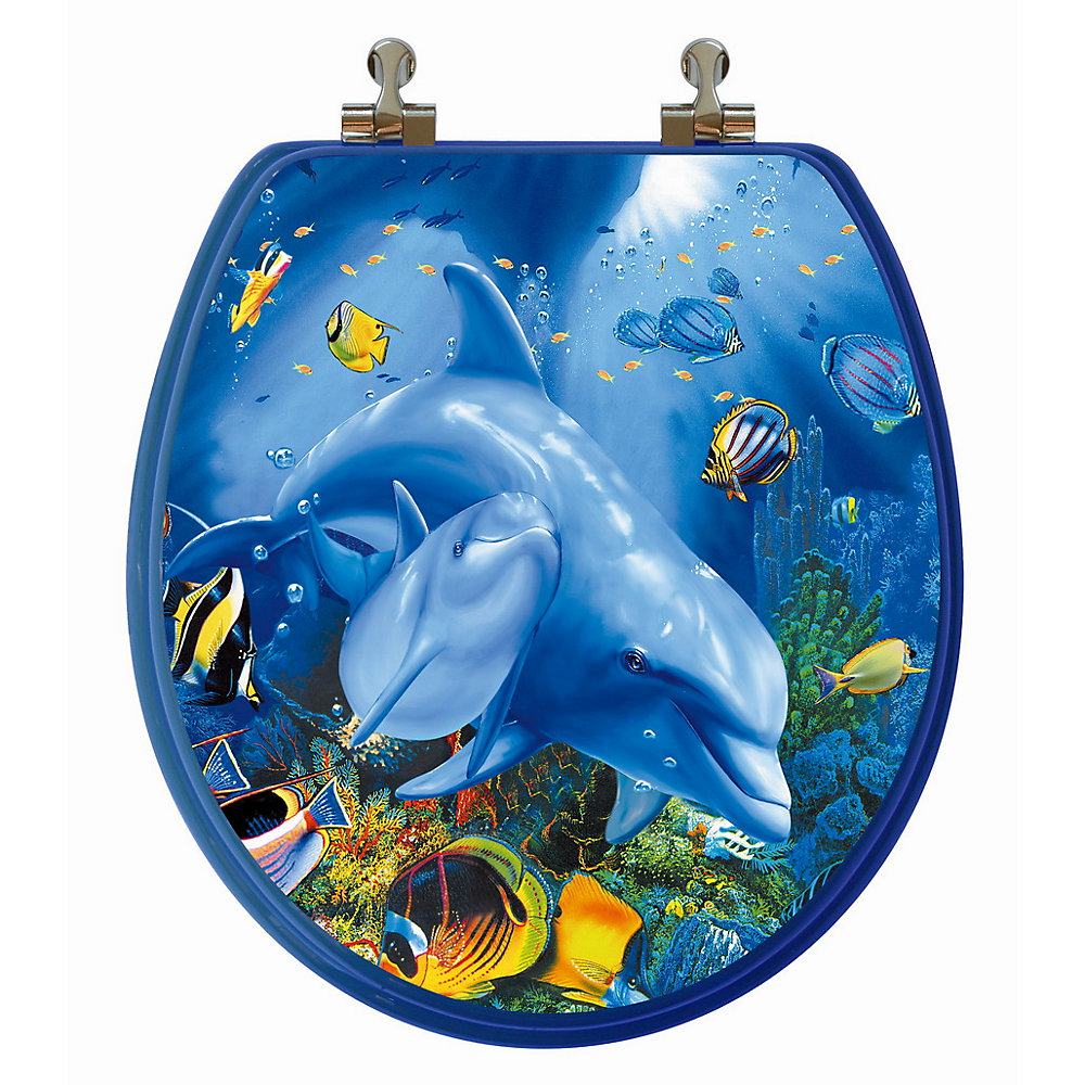 High Res 3D Image Dolphin Family Round, Regular Close. Chromed Metal Hinges